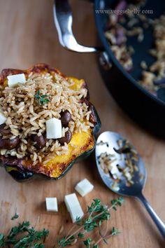 Acorn Squash Stuffed with Brown Rice Mushroom Pilaf | Veggie Belly