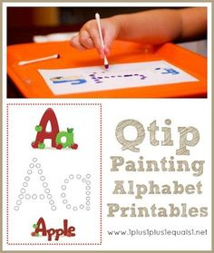 Q-Tip Painting Alphabet Printables {free} from @1plus1plus1 #preschool