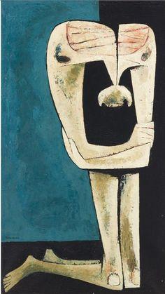 By Oswaldo Guayasamin (1919-1999, Ecuadorian), Untitled (Kneeling Man), Oil on canvas. #EcuadorArtist