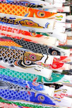 Carp streamer, Koinobori 鯉のぼり for Children's Day on May 5 -  Landscapes across Japan are decorated with koinobori from April to early May, in honor of sons and in the hope that they will grow up healthy and strong.