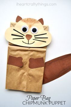 Paper Bag Chipmunk Kid Craft with printable template.