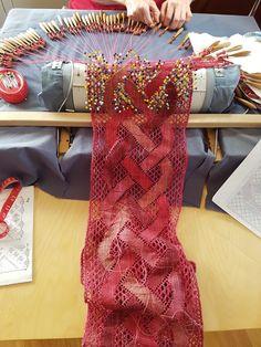 Ann-Marie in Sweden making a silk scarf (2016). Pattern from Aage Holgersen kniplerier.dk