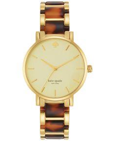 kate spade new york Women's Gramercy Tortoise and Gold-Tone Stainless Steel Bracelet Watch 34mm 1YRU0542 - Watches - Jewelry & Watches - Macy's