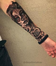 Skull Thigh Tattoos, Skull Girl Tattoo, Skull Sleeve Tattoos, Forarm Tattoos, Cool Forearm Tattoos, Best Sleeve Tattoos, Dope Tattoos, Tattoo Sleeve Designs, Mexican Skull Tattoos