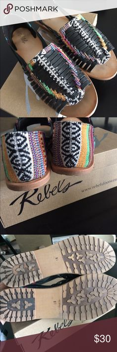 Revels Huarache Sandals black and multi color EUC, worn once but they look brand new. I think these are really cute I just haven't been wearing them. I have two other similar pairs or I'd keep them. Size 8.5 Rebels Shoes Sandals