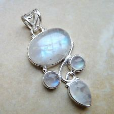 RAINBOW MOONSTONE 925 STERLING SILVER PENDANT 44mm