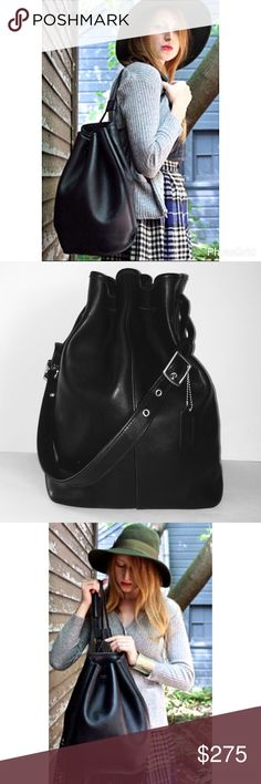 Authentic Coach Black Drawstring Bucket Duffle Bag Amazing Coach Drawstring Black Leather Bucket Bag. In amazing condition considering I've had it since Christmas 2000. Includes gorgeous Coach dustover and original Coach box that it came in. Very roomy and super stylish. Coach Bags