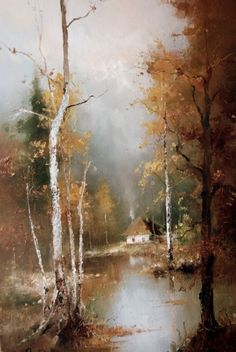 by Igor Medvedev (lives and works in the U. Mountain Landscape, Landscape Art, Landscape Paintings, Landscape Photography, Ukrainian Art, Forest Illustration, Indian Artist, Great Paintings, Canvas Wall Art