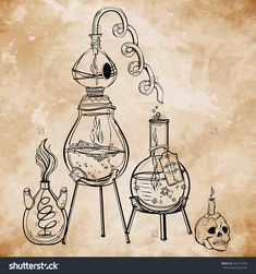 Vintage Medieval Alchemy Laboratory Equipment On Aged Paper Card ...