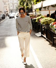 summer striped shirt white pants for french girl style Women's Dresses - Dress for Women - amzn.to/2j7a1wP Clothing, Shoes & Jewelry - Women - women's dresses casual - http://amzn.to/2kVrLsu