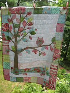 Woodland Owl baby quilt  cotton in pink, blue, yellow, red, white, green, Darla Fabrics by Tanya Whelan