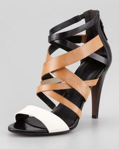 Hinda Colorblock Sandal by Vera Wang Lavender at Neiman Marcus.