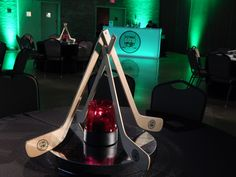 RS Event Productions produced Hockey Themed Mitzvah Party, customized centerpieces available for rentals
