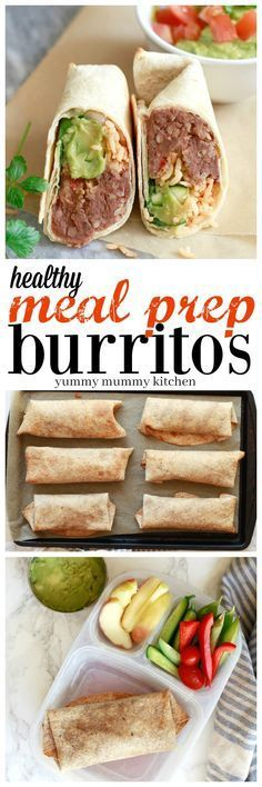 Healthy make ahead bean and rice burritos are perfect for easy vegetarian packed lunches. Find out how meal prep and freeze burritos.