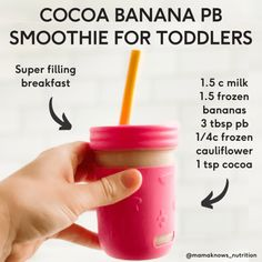 Toddler Smoothie Recipes, Healthy Smoothies For Kids, Toddler Smoothies, Baby Food Recipes, Toddler Recipes, Kid Smoothies, Smoothies For Toddlers, Kid Recipes, Healthy Toddler Breakfast