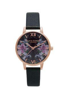 **Olivia Burton Winter Garden Mirror Floral Rose Gold Midi Watch