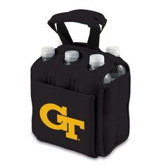 NCAA Georgia Tech Yellow Jackets Six Pack Cooler Tote by Picnic Time. $34.95. Picnic Time digital print team logoed 6 pack cooler tote. Durable Neoprene insulates and protects 6 bottles or cans. Handy side pocket for personal items. Securely houses standard size beverages; Great for tailgating!. A great way to celebrate your almamater. This Picnic Time Six Pack team logoed insulated beverage tote features a durable Neoprene construction with comfy padded handles and a...