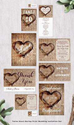 Rustic Country Twine Heart Burlap Print Wedding Invitation Set.  This unique design is perfect for a rustic country wedding.  Invitations qualify for a 40% OFF discount when you order 100+ Invites.  #wedding #burlap #heart