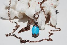 Copper Turquoise Necklace Pearl Angel Wing by ornatetreasures