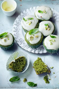 ... basil cupcakes with yoghurt icing ... Intrigued