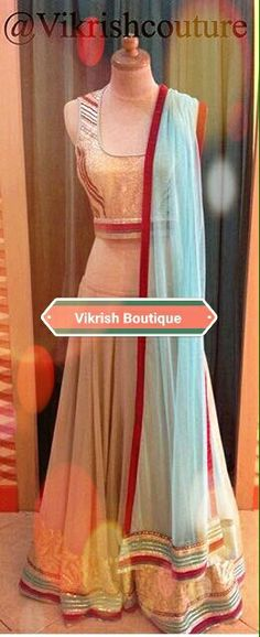 #crop-top#lehenga#mint-green#duppata#best-fitting#red-boarder#bollywood#perdesi-style#