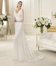 Charming A-line Long Sleeve Buttons Lace Sweep/Brush Train Chiffon Wedding Dresses