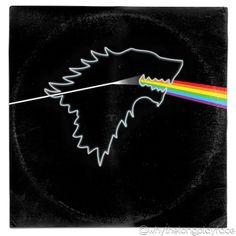 Game of Thrones/ Pink Floyd Dark Side of the Moon Vinyl Record Album Cover' Mash Up Parody Art Print Pink Floyd Dark Side, Vinyl Cover, Cover Art, House Stark Sigil, Nerd Art, Game Of Thrones Fans, Vinyl Art, Vinyl Records, Album Covers