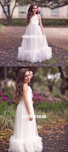 Cheap Halter Tulle A-Line Flower Girl Dresses, Popular Little Girl Dre – OkBridal