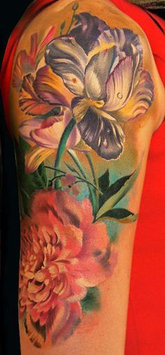 Realism Flowers Tattoo by Andrey Grimmy | Tattoo No. 6073