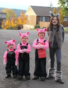 Family Halloween costume, 3 Little Pigs and the Big Bad Wolf!