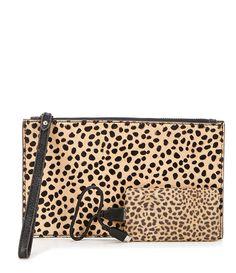 Aimee Kestenberg Cheetah-Print Haircalf Pouch with Charger