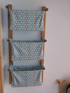 Fali tároló   3 rekeszes   Riley Blake - Blue Hexagon designer textillel, Baba-mama-gyerek, Gyerekszoba, Tárolóeszköz - gyerekszobába, Meska