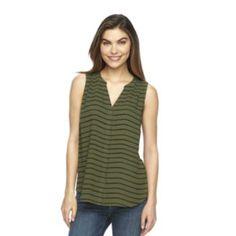 Women's Apt. 9 Pleated Crepe Tank -- green stripe/size Medium