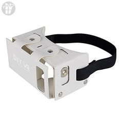 DAISEN 2016 Best New Waterproof PU leather DIY 3D VR Box Google Virtual Reality Headset Glasses Cardboard Movie Game for Smartphones with Headband (White) (*Amazon Partner-Link)