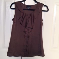 Cynthia Rowley Ruffle Shell Tank Blouse Gorgeous!!  Mocha shell. Perfect condition!!  Ruffle and button front. Classic and feminine. Last pic was taken in bright light to show how gorgeous the material is. Size Small. No trades. Cynthia Rowley Tops Blouses