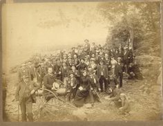 Civil War veterans and their wives at a regimental reunion, Gettysburg, about 1890.