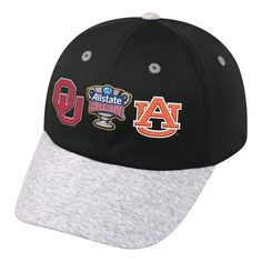 - Made and Designed by Top of the World. - Size is a One Size Fits All - Embroidered on the front is the 2017 AllState Sugar Bowl logo with dueling Oklahoma Sooners and Auburn Tigers logos. - Top Qual