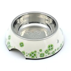 SUPER DESIGN Classic Removable Stainless Steel Pet Food and Water Bowl in Round Melamine Stand with Non-Skid Rubber Bottom Easy to Clean Dishwasher Safe for Dogs and Cats with Pattern >>> See this great product.