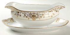 Gravy Boat With Attached Underplate in the 175 pattern by Noritake