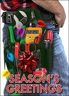 The electrician's Tool Belt Holiday Card lets you remind customers this holiday season that if it wasn't for you, they wouldn't have any lights!