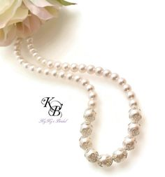 Pearl Bridal Necklace, Wedding Jewelry, Bridal Jewelry, Pearl Necklace, Bride, Wedding, Bridal Shower Gift, Anniversary Gift, Filligree
