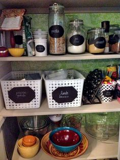 Chalkboard labels, mason jars and contact paper... DIY Kitchen organization via Honest to Goodness Living