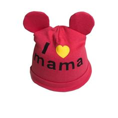 Baby Boys Girls Hat Newborn Baby bear ear Love mama print Caps