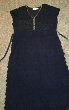 Sz 3X $299 Hopeless Romantic by NATAYA Black Shutter Pleat Dress layered maxi  #Nataya #EmpireWaist #Formal