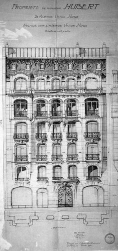 Drawing Architectural Elevation of an apartment house on Avenue Victor Hugo, Paris - Data Architecture, Classic Architecture, Architecture Drawings, Historical Architecture, Architecture Details, Old Building, Victor Hugo, Facade Design, Architectural Elements