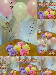 Wedding party baby shower christening balloon weights,table centrepieces and decorations tissue paper pompoms .balloons not included Unicorn Birthday, Unicorn Party, Baby Party, Baby Shower Parties, Balloon Decorations, Birthday Decorations, Table Decorations, Christening Balloons, Balloon Weights