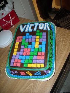 More Simple The Tetris Game Cake Food Pinterest Delicious - Tetris birthday cake