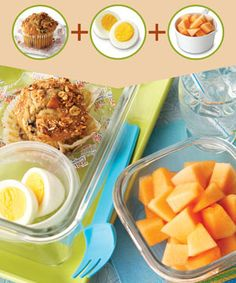 Healthy Breakfast #3: Blueberry Muffin Whole Grain:  --Fiber One frozen blueberry muffin, thawed  Dairy/Protein:  --Hard-cooked egg  Fruit:  --1 cup cantaloupe cubes  Nutrition Information:  312 cal., 9 g total fat (2.5 g sat. fat), 232 mg chol., 278 mg sodium, 46 g carb., 8.5 g fiber, 10 g pro.