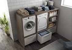 Dafnedesign.com - Mobile lavanderia porta lavatrice e porta asciugatrice e carrelli cesti bucato - Misura: L.134 P.50 cm Finitura: Rovere Tranche -- 100% made in Italy, http://www.amazon.it/dp/B06XX2RX9P/ref=cm_sw_r_pi_awdl_xs_upYlzbA77R3WX