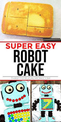 This fun Robot Cake is the perfect easy birthday cake! It's made using a single 9x13 cake and decorated with chocolate covered donuts, Oreos and candy. So simple but so cute! Easy Homemade Recipes, Homemade Pie, No Bake Desserts, Easy Desserts, Robot Cake, Brookies, Chocolate Decorations, Chocolate Covered, Food To Make